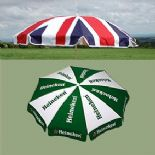 Printed parasol with water-filled base From £123.00